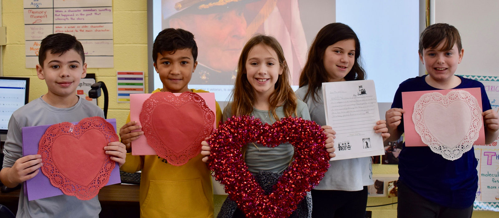 Accompsett Elementary Class Pens Valentine's for a Special Vet